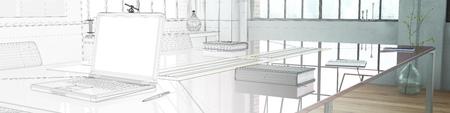 Laptop-Computer auf Schreibtisch im Büro Panorama mit Farbverlauf von CAD-Skizze zu machen (3D-Rendering) Standard-Bild - 57526818