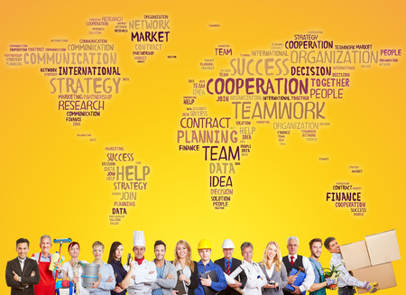 team cooperation: International cooperation and success team with different careers and professions