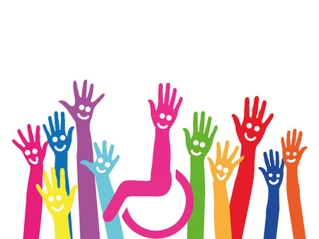 Handen als symbool van inclusie en integratie met rolstoel in het midden Stockfoto