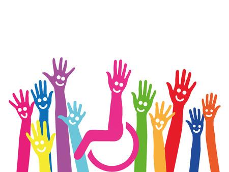 Mains comme un symbole de l'inclusion et de l'intégration en fauteuil roulant au milieu Banque d'images
