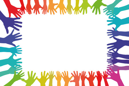 hand colored: Colorful hands in a frame background as a symbol of tolerance and integration Stock Photo