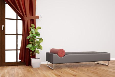 Moderne Couch in der Psychotherapie Klinik vor einer Wand mit Vorhängen (3D-Rendering)