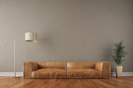 Retro vintage sofa in living room with wall and reading lamp (3D Rendering) Banco de Imagens