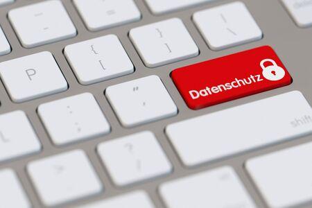secured: German word Datenschutz (privacy) written on a computer keyboard (3D Rendering)