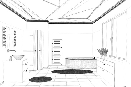 lijntekening: CAD badkamer planning ontwerp met wireframe mesh (3D rendering)