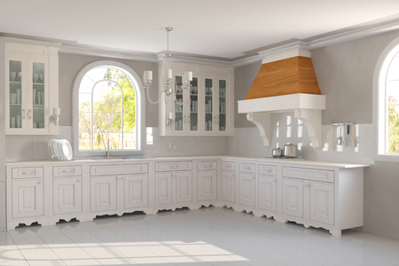 white kitchen: New empty clean white kitchen in a house (3D Rendering)