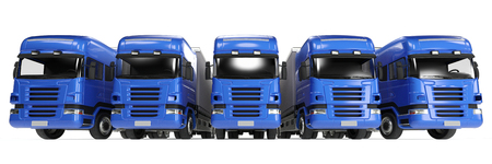 forwarding: Blue truck fleet for freight delivery in forwarding agency (3D Rendering) Stock Photo
