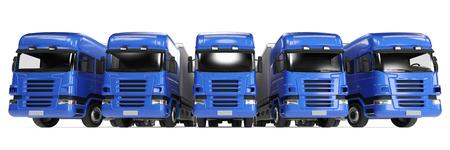 forwarding agency: Blue truck fleet for freight delivery in forwarding agency (3D Rendering) Stock Photo