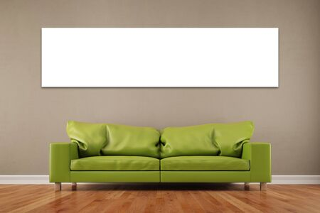 living room wall: White empty panorama canvas on wall over sofa in a living room (3D Rendering) Stock Photo