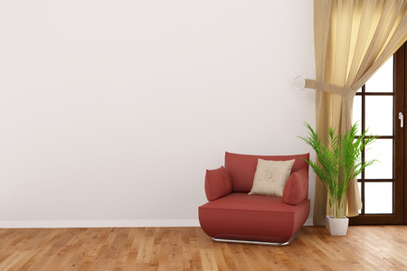 living room wall: Empty wall in a living room with armchair and betal palm (3D Rendering)