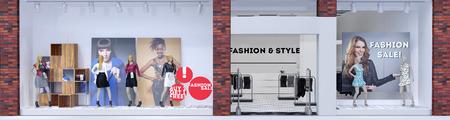 Store voor modeboetiek met etalagepoppen tonen kleding (3D rendering) Stockfoto