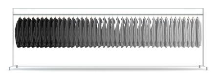 パノラマ グレー (3 D レンダリング) の盛り合わせ色合いの洋服棚に多くの t シャツを 写真素材 - 58112233