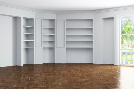 living room wall: Bright empty living room with shelves in the wall in a house (3D Rendering)