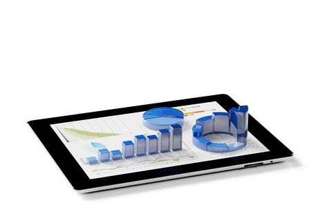 Statistical analysis of financial data with app on tablet PC (3D Rendering) Stock Photo