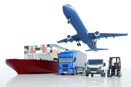 wordwide: Freight transport and logistics at express company with different types of vehicles (3D Rendering)