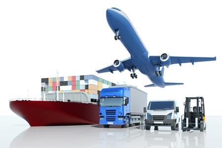 Transport ładunków i logistyka w ekspresowej firmie z różnego rodzaju pojazdami (renderowanie 3D)