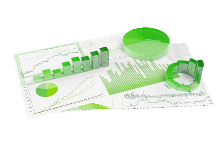 sustained: Sustainability with ecological financial planning with statistics and graphs (3D Rendering)