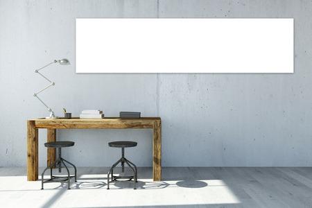 Lege witte panorama canvas op het kantoor muur boven het bureau (3D rendering)
