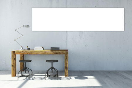 Vuoto di tela bianco panorama sulla parete dell'ufficio sopra la scrivania (rendering 3D)