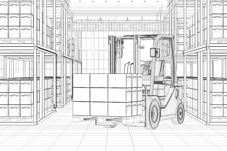 forwarding agency: CAD line sketch of forklift in a full warehouse (3D Rendering)