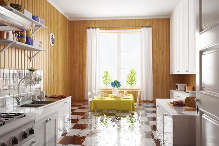 Danni dell'acqua dopo un allagamento in cucina in una casa (rendering 3D)