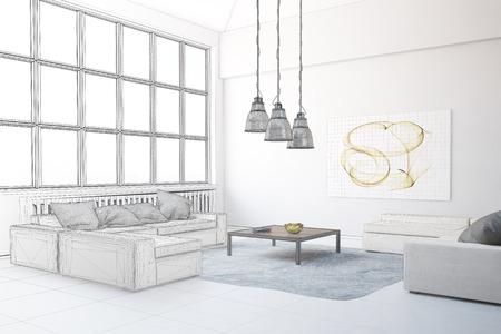 loft living: Planning of interior design in loft living room (3D Rendering)