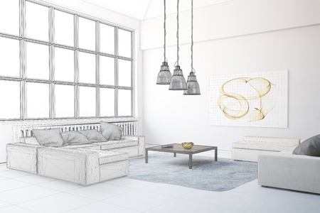 exposed concrete: Planning of interior design in loft living room (3D Rendering)