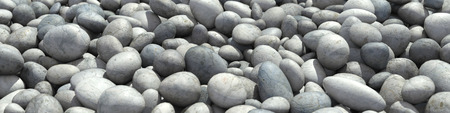 pebbles: Panorama background with many round pebble stones (3D Rendering)
