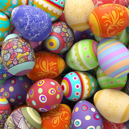 decorated: Heap of many different colorful easter eggs (3D Rendering)