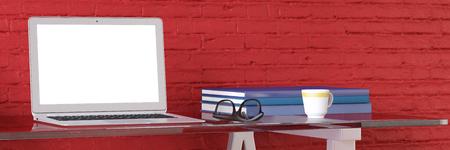 oficina en casa con el ordenador portátil y la pantalla limpia en un escritorio (3D)