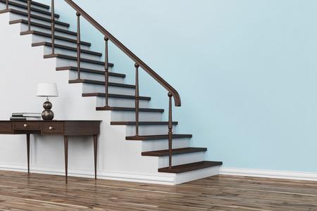 テーブル ・手すり (3 D レンダリング) と家の中の階段で古典的な木製の階段