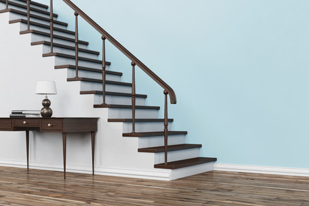 stairs: Classic wooden staircase with stairs in house with table and handrail (3D Rendering)