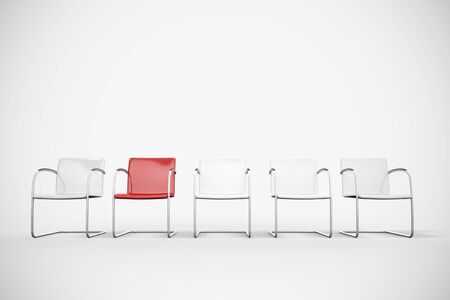 peer pressure: White chairs and a red chair in a waiting room (3D Rendering)