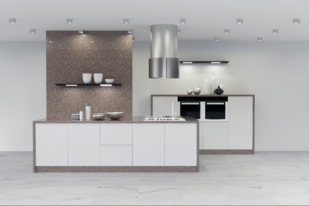 Modern new clean marble kitchen in white (3D Rendering) Reklamní fotografie - 58112244