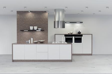 Moderne neue, saubere Küche aus Marmor in weiß (3D-Rendering) Standard-Bild