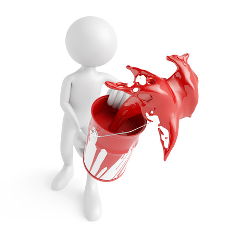 artisan: White 3D guy splashing red paint from a bucket (3D Rendering)