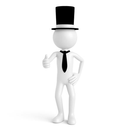 hombre millonario: Individuo blanco 3D como millonario capitalista con el sombrero del cilindro que detienen los pulgares (3D)