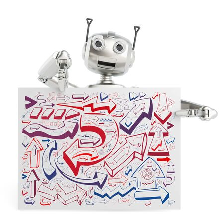 electronically: 3D robot holding billboard sign with many arrows as strategy and planning concept (3D Rendering)