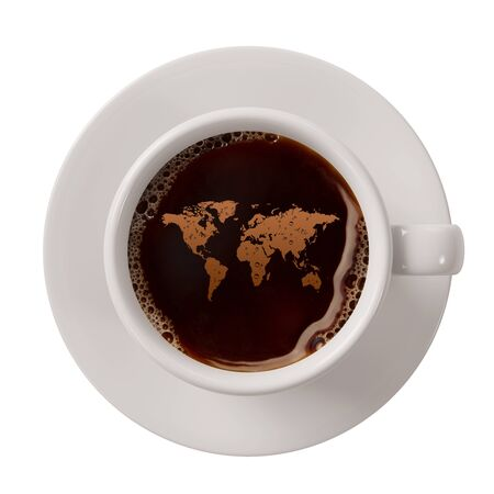 trade fair: World map in a cup of coffee as symbol for fair trade coffee (3D Rendering) Stock Photo