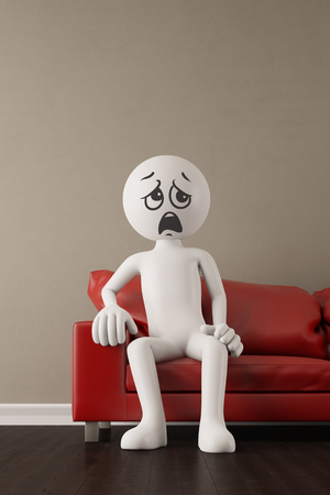 disappointment: Discontent 3D guy whining on a red couch (3D Rendering)