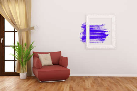 living room wall: Modern art in picture frame on a wall in living room (3D Rendering)