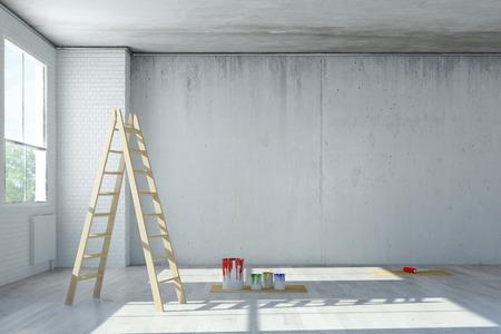 Renovatie van kantoorruimte in een hok met ladder en verfblikken (3D rendering)