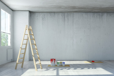 Renovierung von Büroflächen in einem Loft mit Leiter und Farbdosen (3D-Rendering)