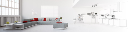Panorama with eat-in-kitchen tranforming from rendering to wireframe mesh (3D Rendering) Banco de Imagens - 58148179
