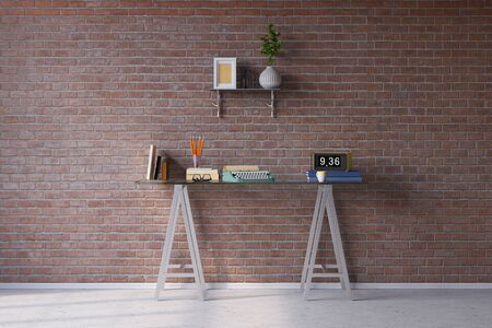 room wall: Retro desk with typewriter in vintage look in front of a brick wall (3D Rendering)
