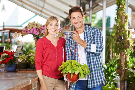 Smiling couple with plant (philodendron cordatum) in a nursery shop photo