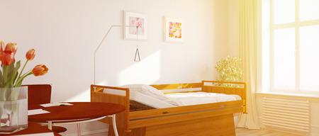 Heldere zonnige eenpersoonskamer in een verpleeghuis met bloemen (3D rendering)