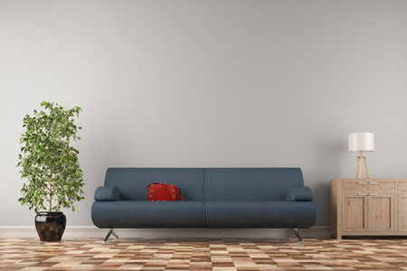 living room wall: Couch with red handbag in front of a wall in living room (3D Rendering)