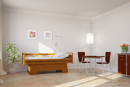 sickbed: Bright clean single room with bed in hospital or nursing home (3D Rendering) Stock Photo