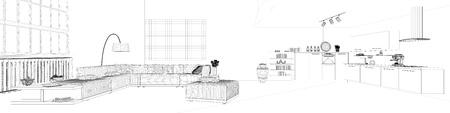 Panorama van CAD wireframe maas van woonkeuken in een loft (3D rendering) Stockfoto